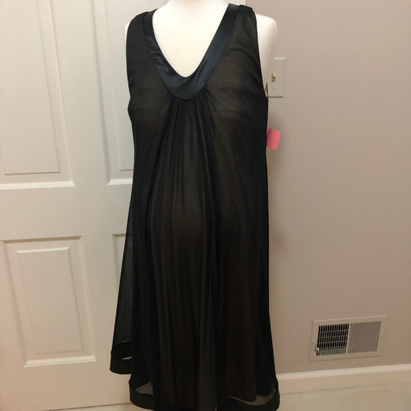Maternite Black Sleeveless V-Neck Dress